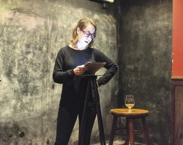 Talia Baiocci reads at Drink.Think. (Photo credit: Edible Manhattan)
